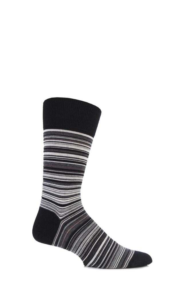 Mens 1 Pair John Smedley Extrafine Merino Tim Multi Fine Striped Socks