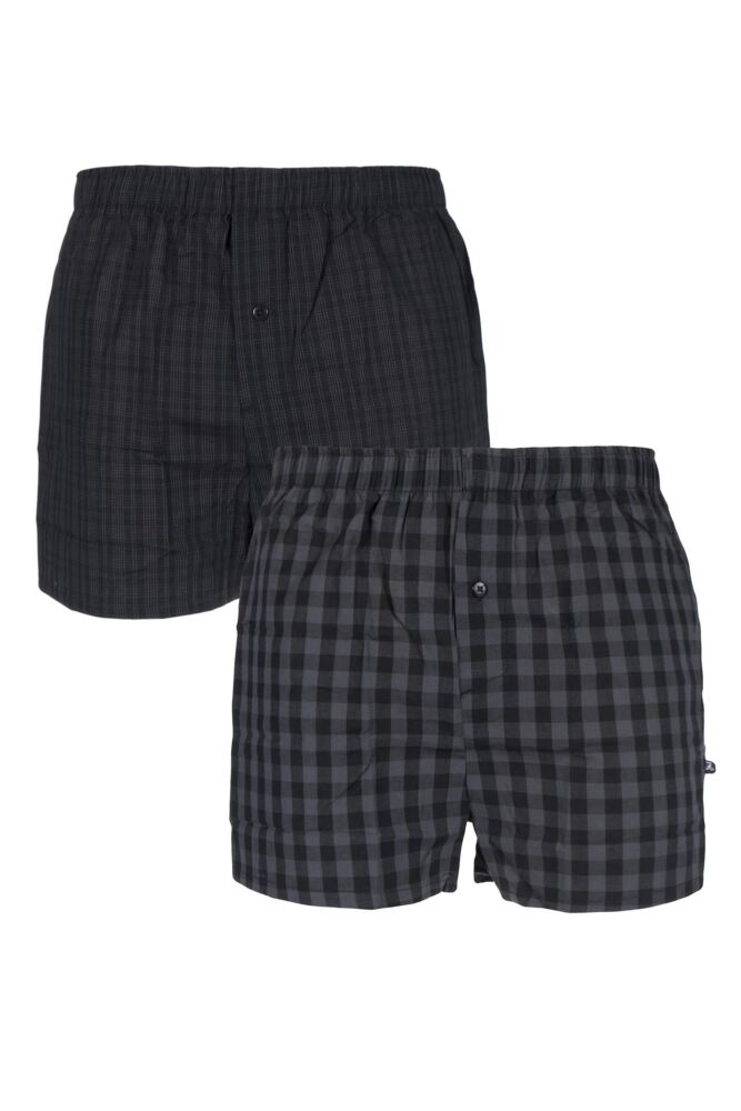 Mens 2 Pack Farah 100% Cotton Checked Woven Boxers In Black