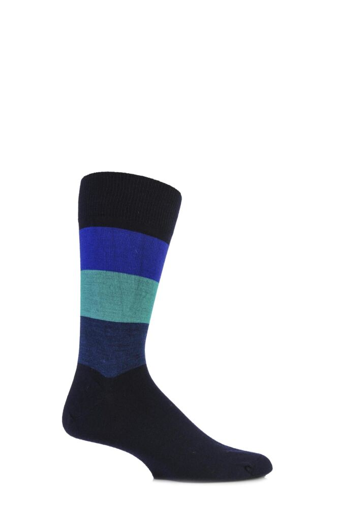 Mens 1 Pair John Smedley Extrafine Merino Jake Block Striped Socks 50% OFF