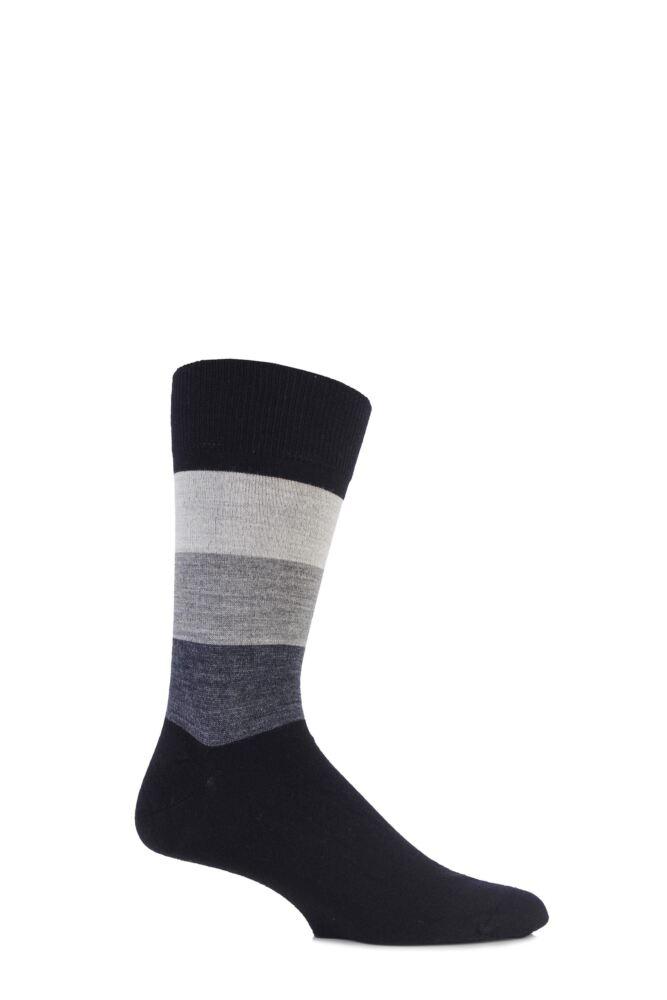 Mens 1 Pair John Smedley Extrafine Merino Jake Block Striped Socks 50% OFF