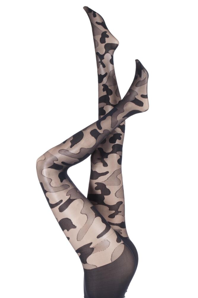 Ladies 1 Pair Pretty Polly House of Holland Camouflage Tights 33% OFF