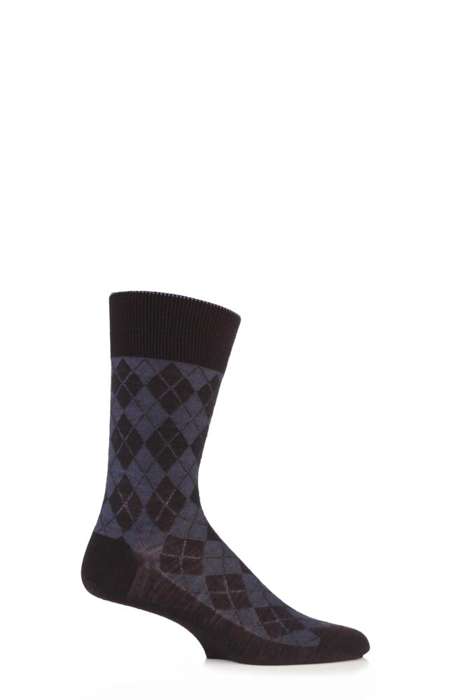 Mens 1 Pair Burlington Hampstead Wool All Over Argyle Socks