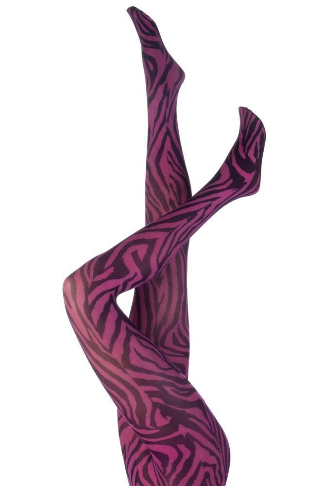 Ladies 1 Pair Silky Signature Zebra Animal Print Tights In Black and Pink 50% OFF