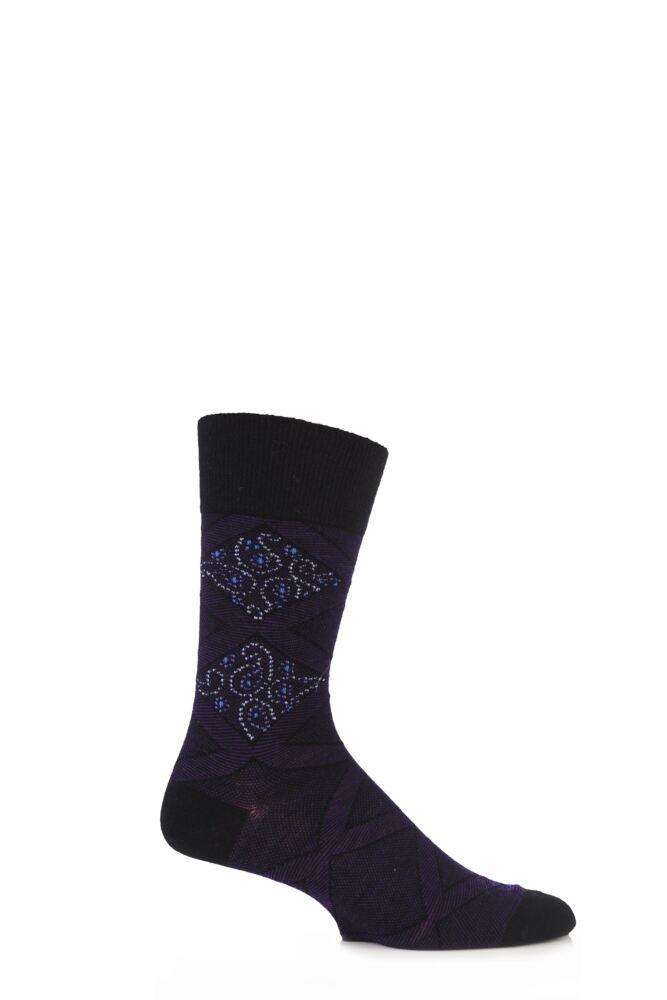 Mens 1 Pair Burlington Virgin Wool Paisley Argyle Socks 25% OFF