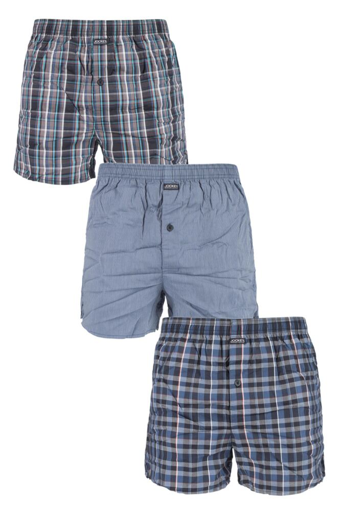 Mens 3 Pack Jockey Flight Pioneers 100% Cotton Check and Plain Woven Boxer Shorts