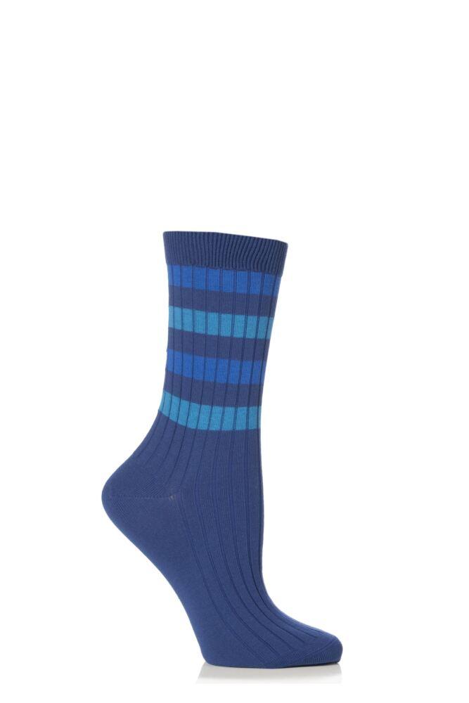 Ladies 1 Pair Falke Cotton Rib Stripe Socks 25% OFF