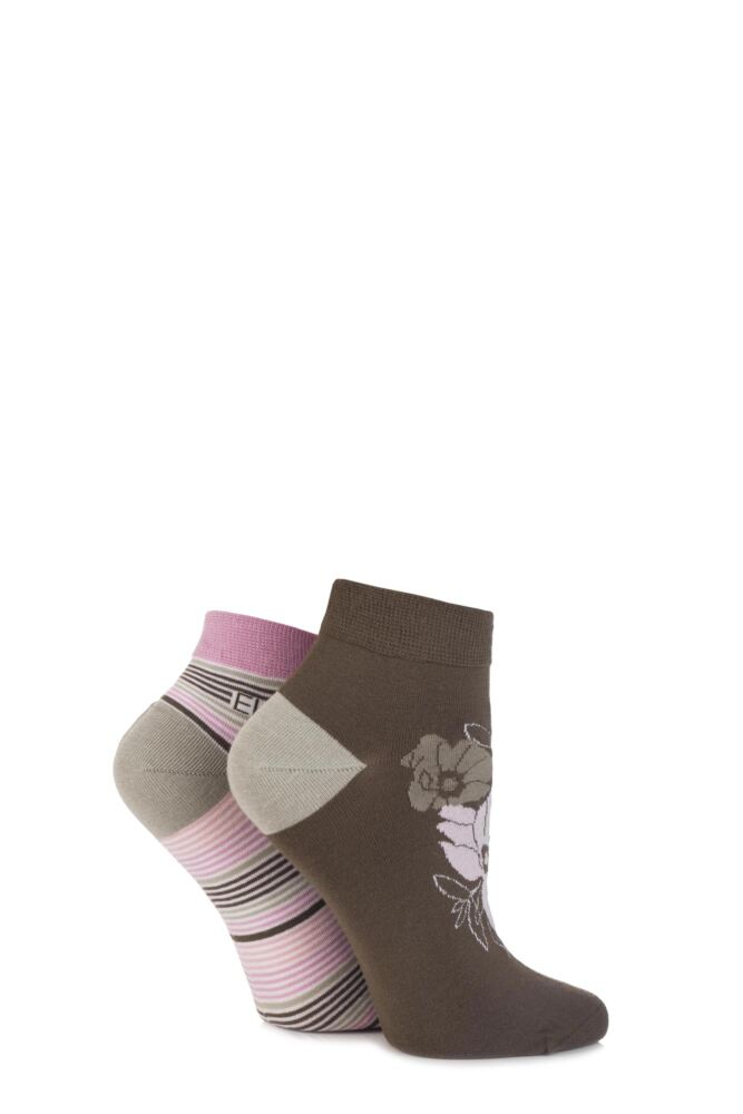 Ladies 2 Pair Elle Bamboo Striped and Floral Patterned Trainer Socks