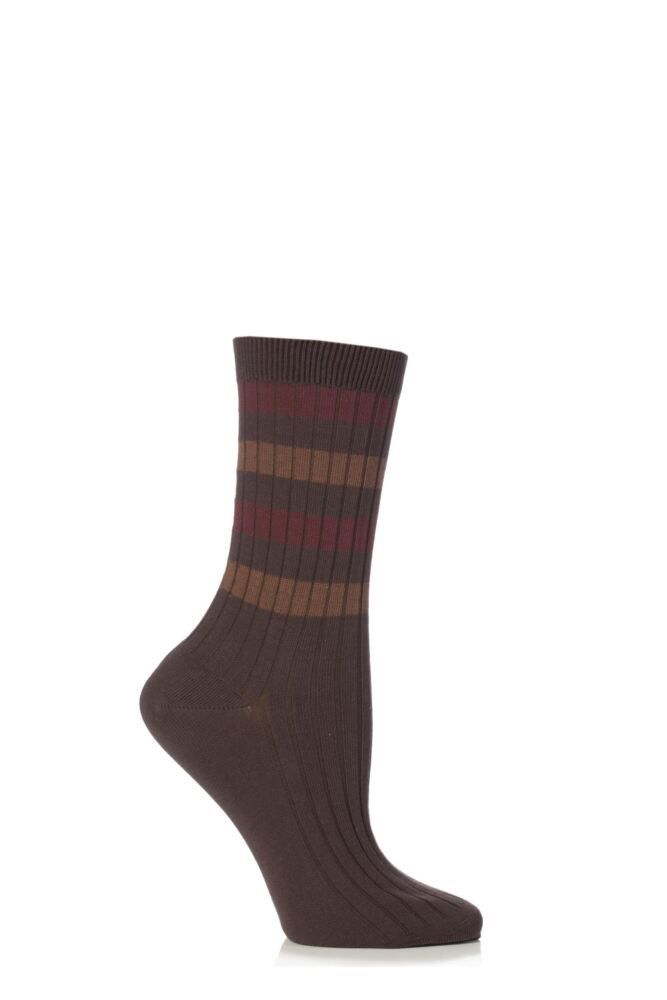 Ladies 1 Pair Falke Cotton Rib Stripe Socks