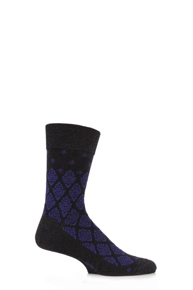 Mens 1 Pair Burlington Ornament Virgin Wool Floral Glitter Argyle Socks 50% OFF