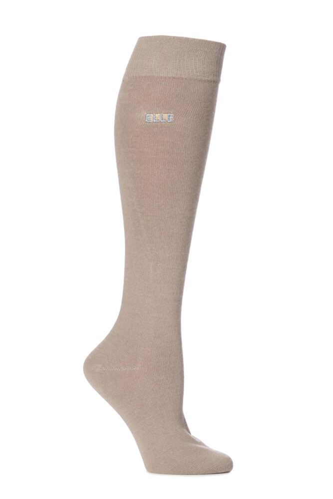 Ladies 1 Pair Elle Wool and Viscose Plain Knee High Socks