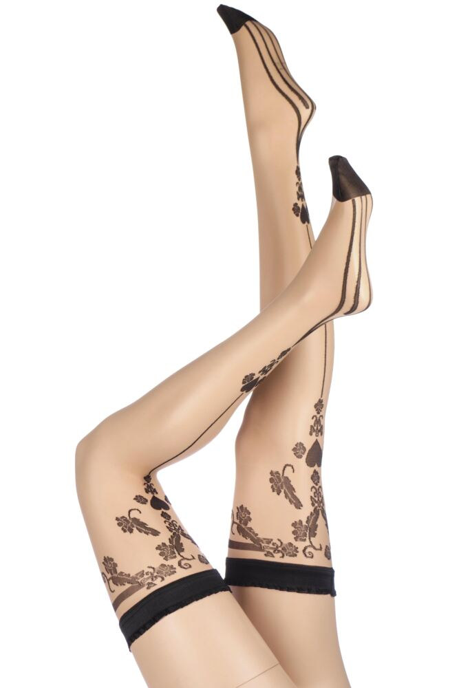 Ladies 1 Pair Trasparenze Sax Heart Back Seamed Hold Ups 33% Off