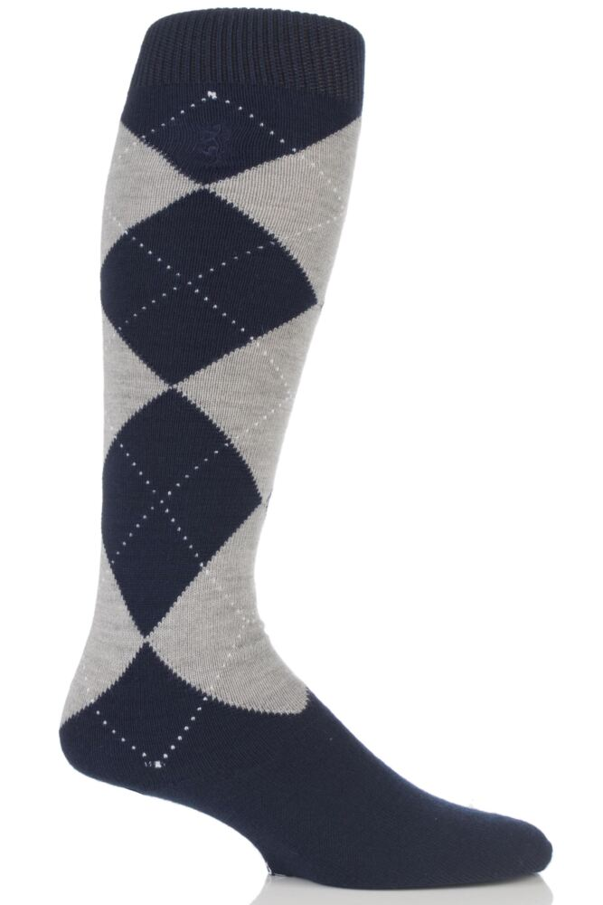 Mens 1 Pair Pringle of Scotland 80% Cashmere Argyle Pattern Knee High Socks