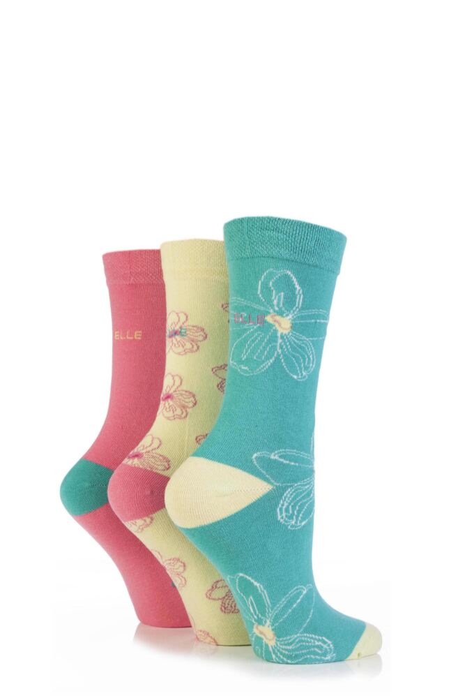 Ladies 3 Pair Elle Patterned Cotton Socks