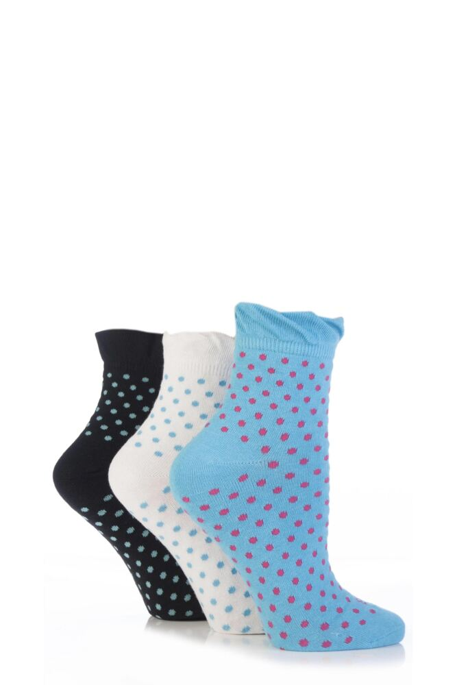 Ladies 3 Pair Elle Spotty Cotton Ankle Socks with Frilly Top