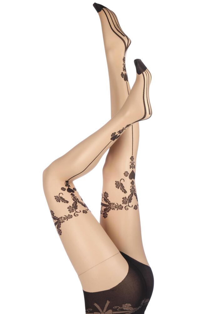 Ladies 1 Pair Trasparenze Sax Heart Back Seamed Tights 50% OFF