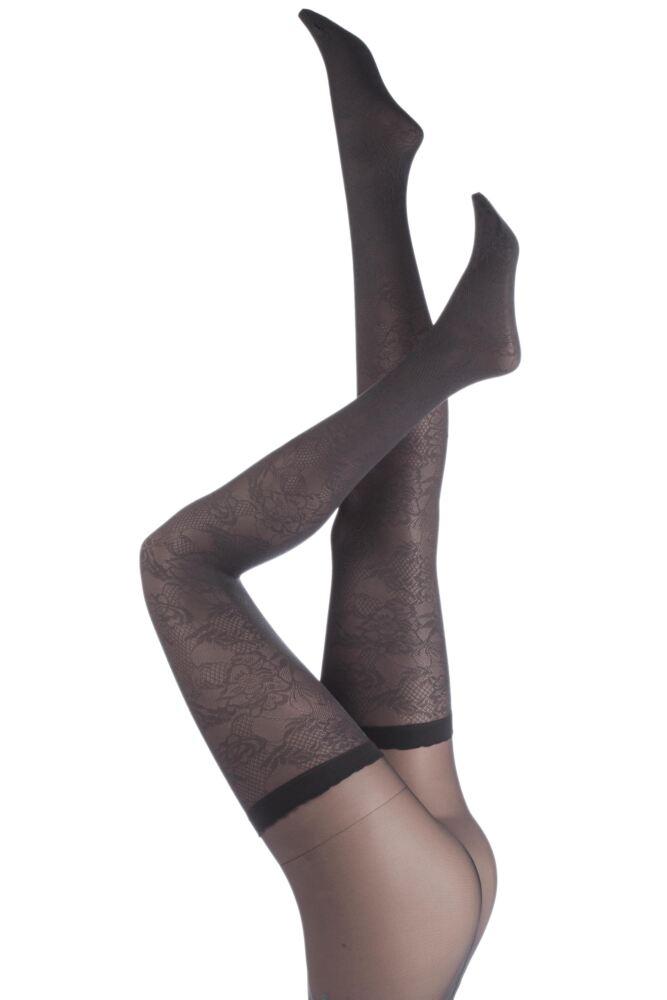 Ladies 1 Pair Trasparenze Journey Lace Suspender Tights 75% OFF