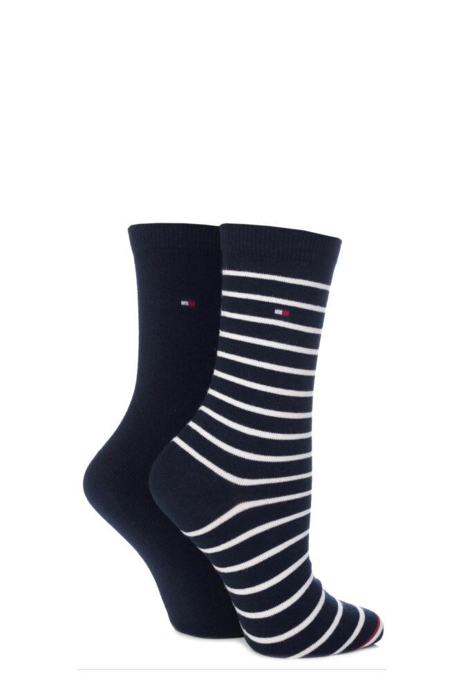 Ladies 2 Pair Tommy Hilfiger Stripe and Plain Cotton Socks