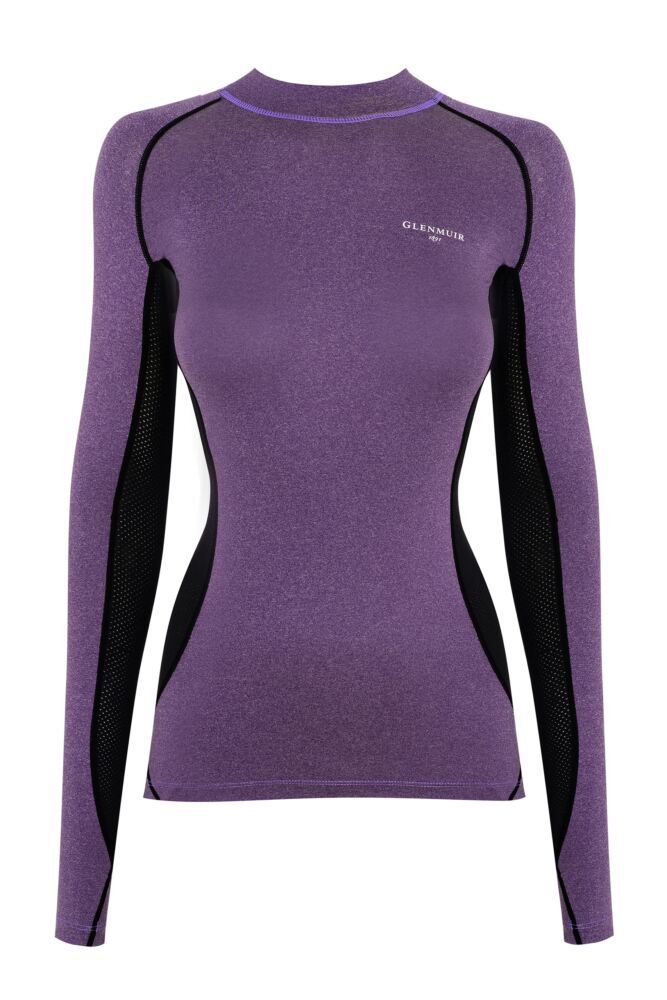 Ladies 1 Pack Glenmuir High Neck, Long Sleeved Compression Base Layer T-Shirt