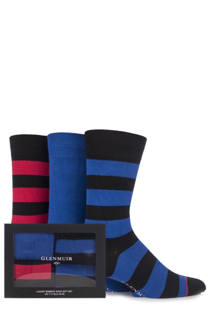Mens 3 Pair Glenmuir Gift Boxed Plain and Broad Striped Bamboo Socks