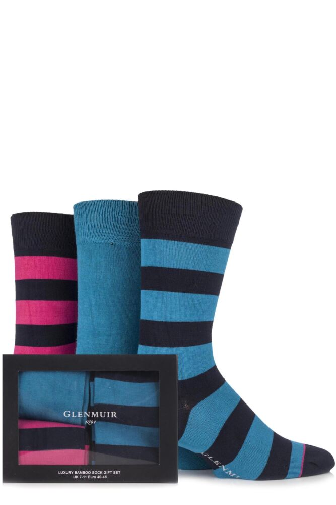 Mens 3 Pair Glenmuir Gift Boxed Plain and Broad Striped Bamboo Socks