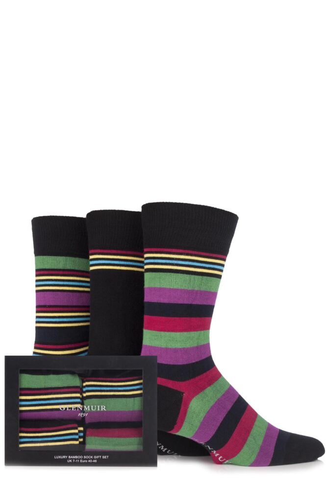 Mens 3 Pair Glenmuir Gift Boxed Plain and Multi Striped Bamboo Socks