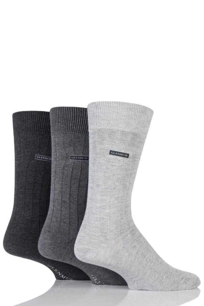 Mens 3 Pair Glenmuir Classic Bamboo Ribbed Socks