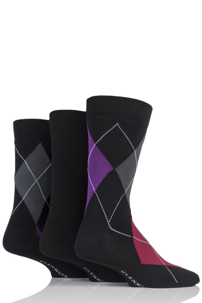 Mens 3 Pair Glenmuir Classic Bamboo Argyle Socks