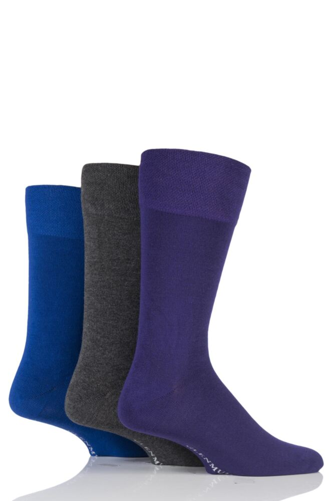 Mens 3 Pair Glenmuir Plain Comfort Cuff Socks