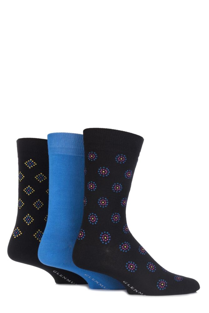 Mens 3 Pair Glenmuir Plain and Patterned Bamboo Socks