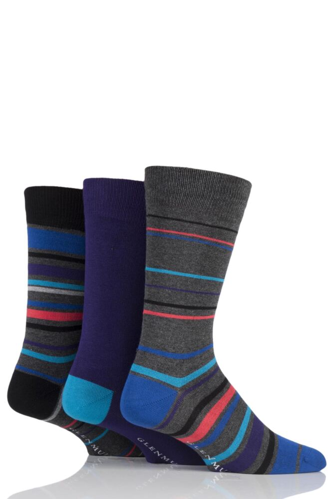 Mens 3 Pair Glenmuir Varied Stripe and Plain Bamboo Socks
