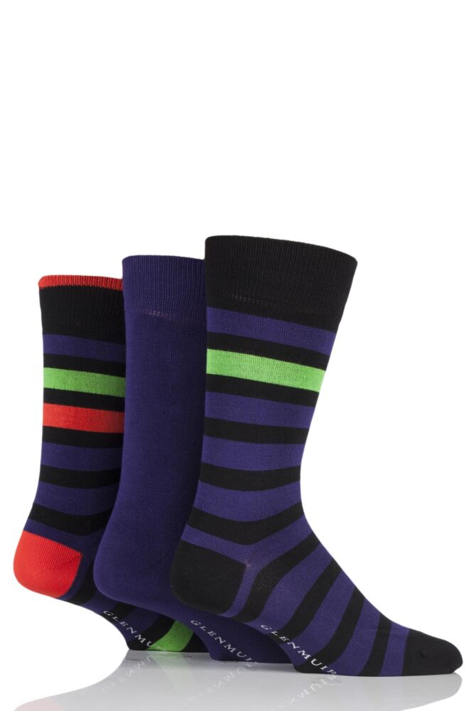 Mens 3 Pair Glenmuir Block Stripe and Plain Bamboo Socks