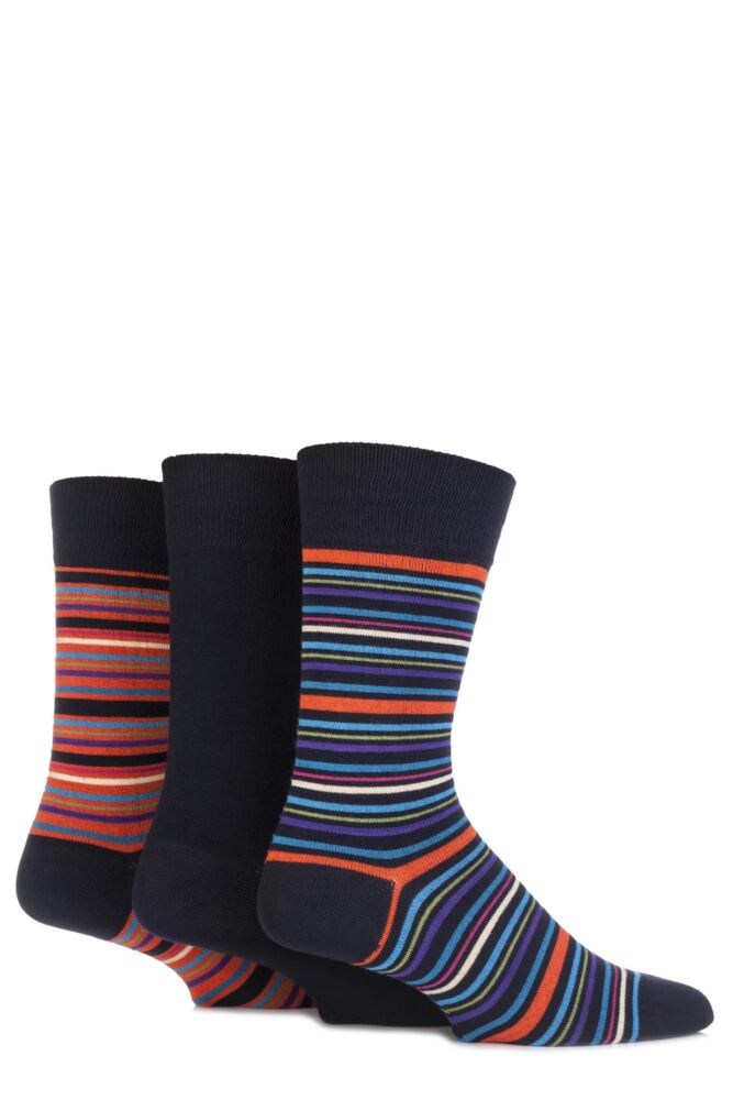Mens 3 Pair Glenmuir Plain and Multi Striped Bamboo Socks