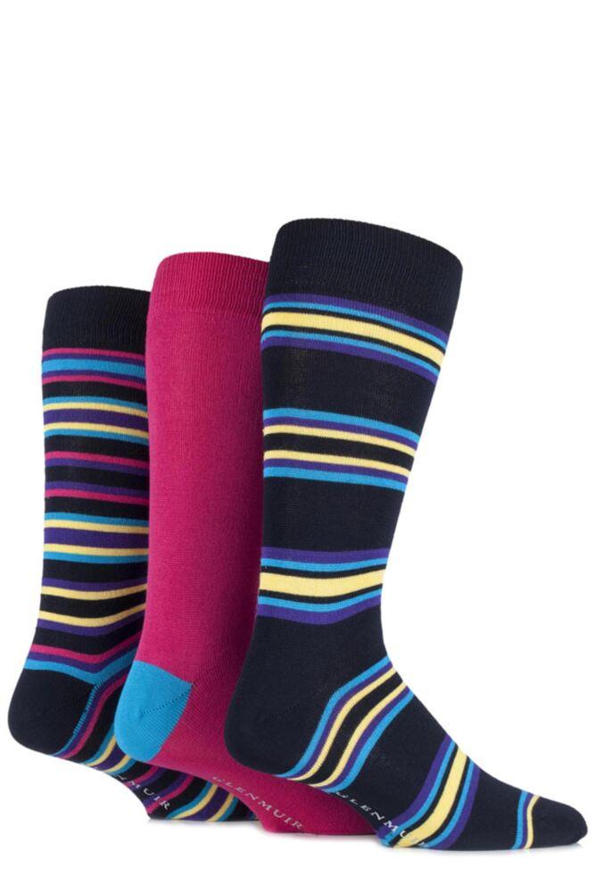 Mens 3 Pair Glenmuir Bamboo Plain and Varied Striped Socks
