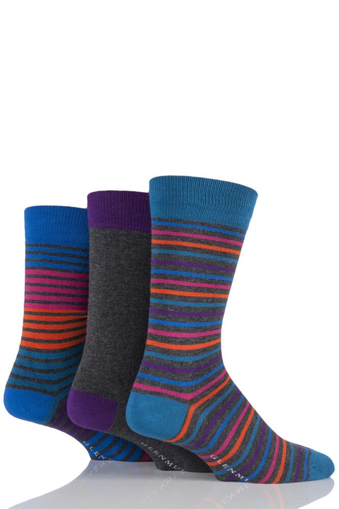 Mens 3 Pair Glenmuir Plain and Multi Coloured Narrow Striped Bamboo Socks