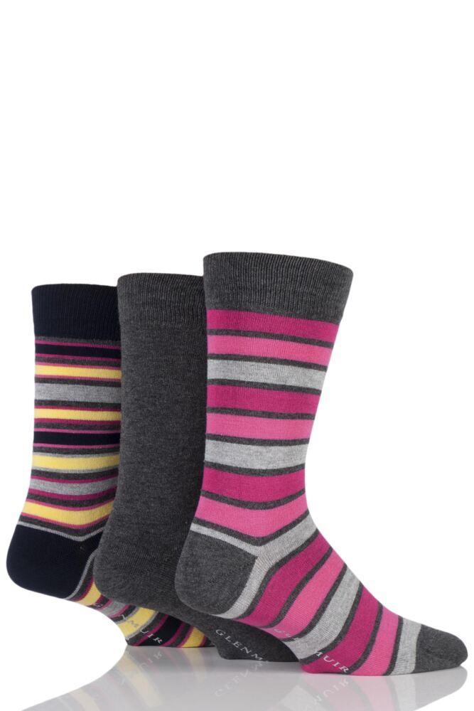 Mens 3 Pair Glenmuir Plain and Mixed Striped Bamboo Socks