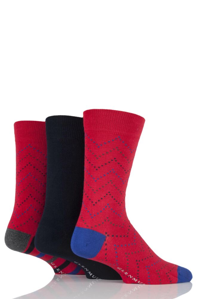 Mens 3 Pair Glenmuir Plain and Zig Zag Squared Bamboo Socks