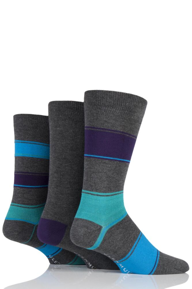 Mens 3 Pair Glenmuir Broad Stripe and Plain Bamboo Socks