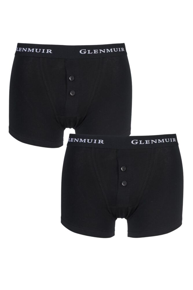 Mens 2 Pack Glenmuir Button Fly Plain Boxer Shorts