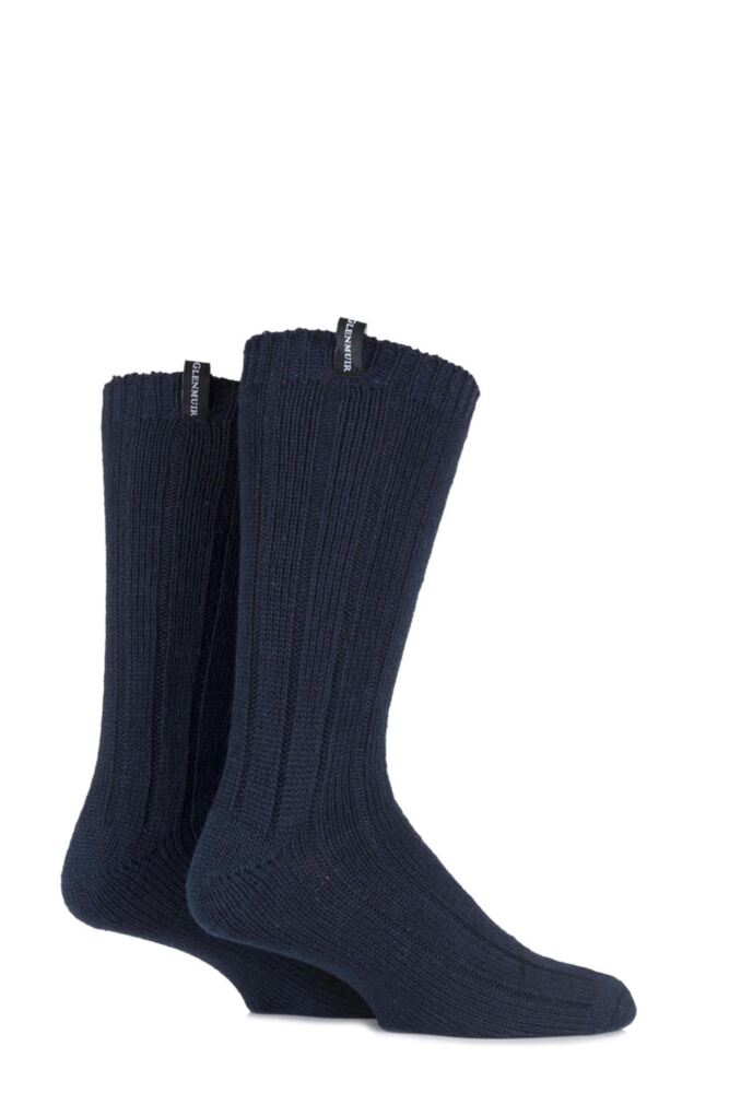 Mens 2 Pair Glenmuir Merino Wool Blend Ribbed Boot Socks