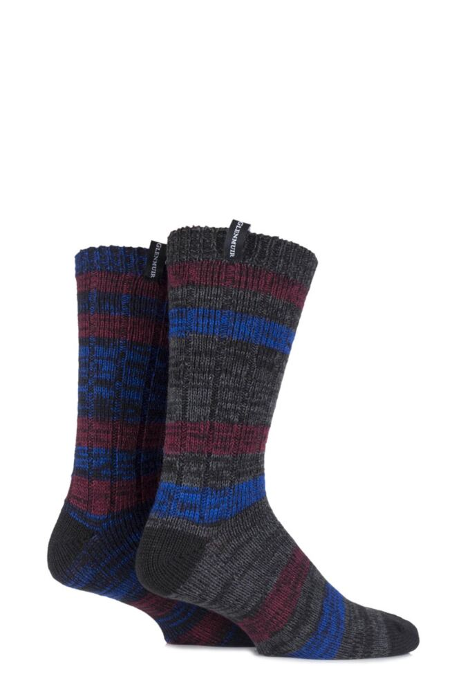 Mens 2 Pair Glenmuir Merino Wool Blend Ribbed and Striped Boot Socks