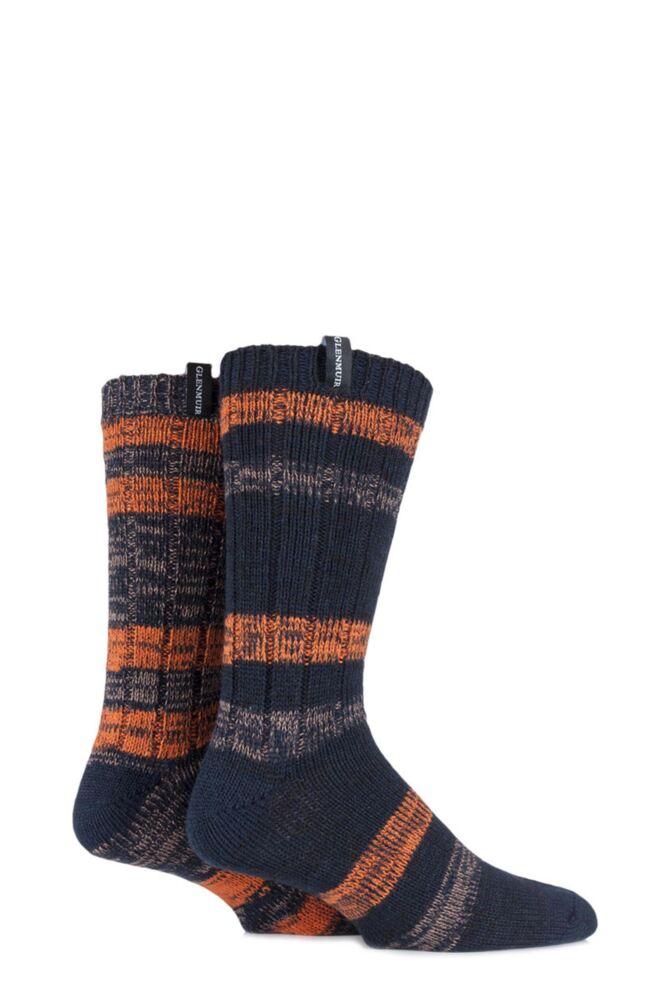 Mens 2 Pair Glenmuir Merino Wool Blend Ribbed and Striped Boot Socks