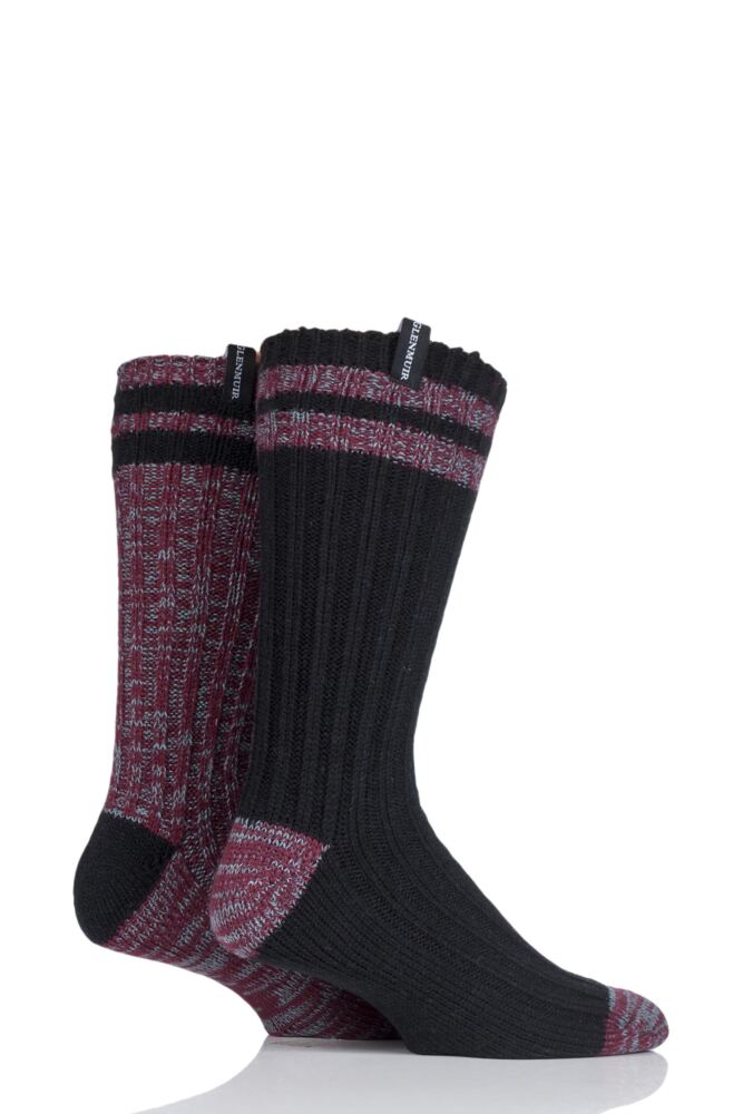 Mens 2 Pair Glenmuir Merino Wool Blend Cable Knit Boot Socks