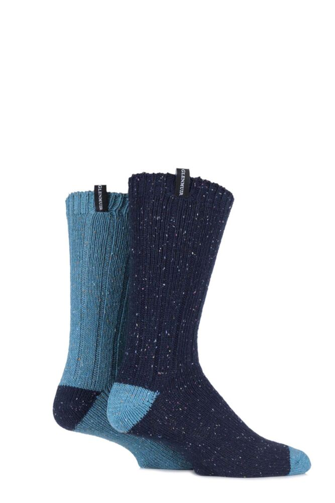 Mens 2 Pair Glenmuir Merino Wool Blend Ribbed Marl Boot Socks