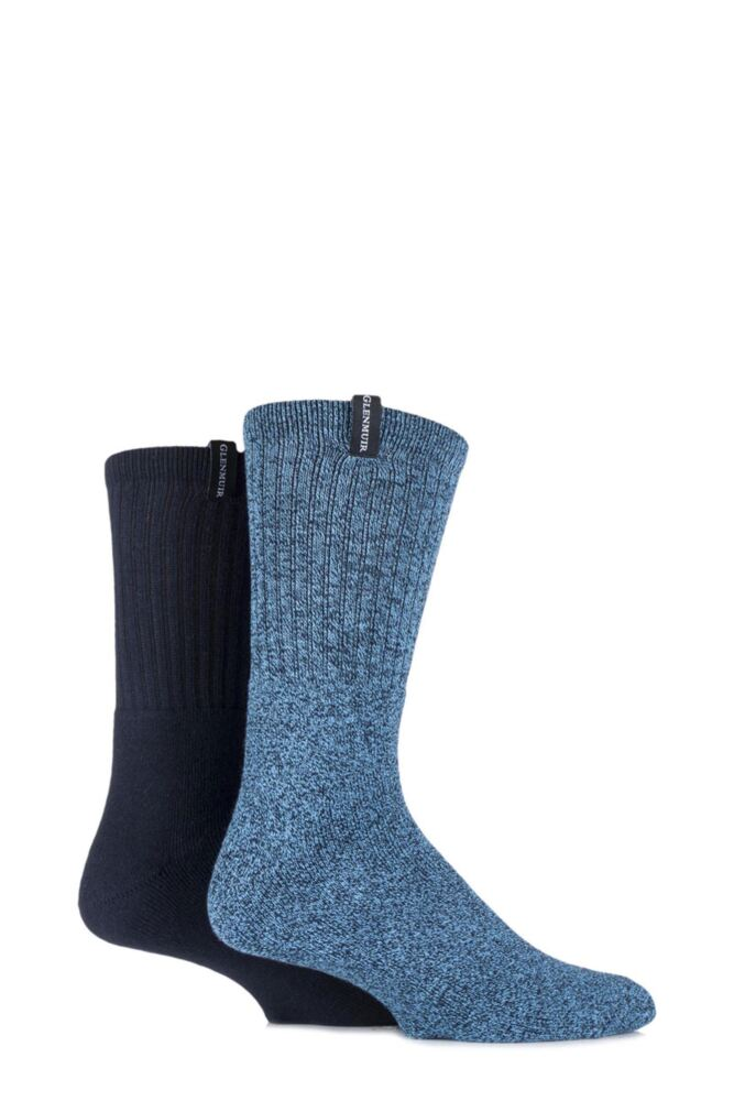 Mens 2 Pair Glenmuir Cotton Marl Cushioned Boot Socks