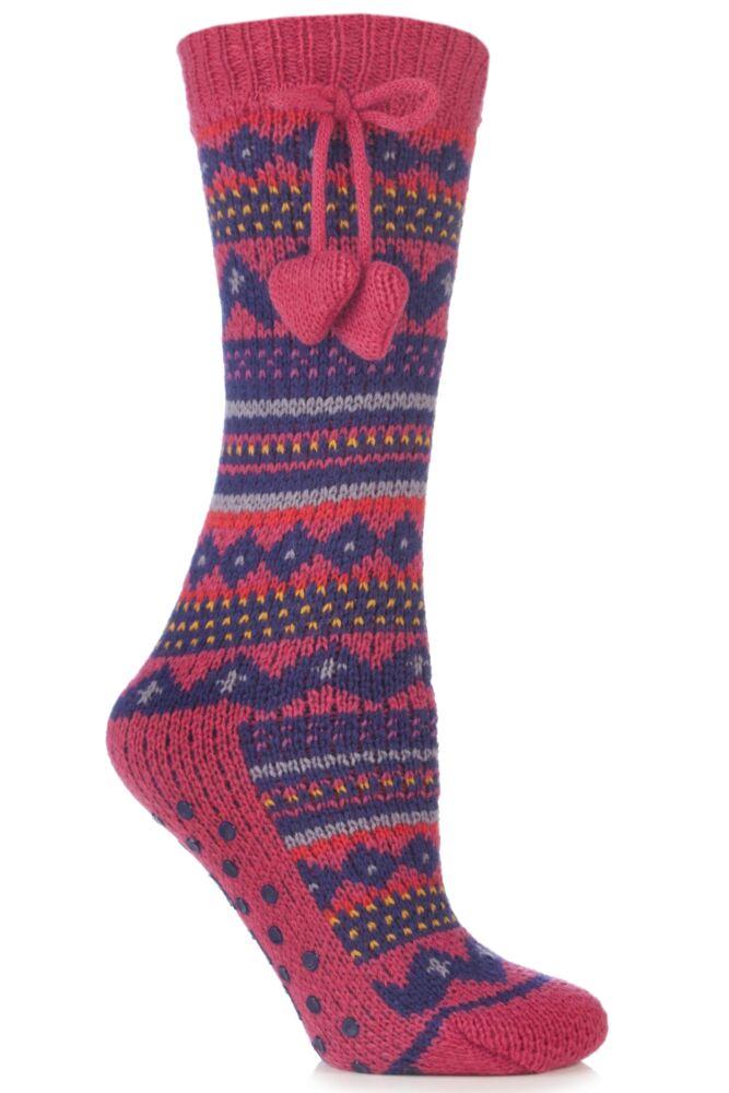 Ladies 1 Pair Elle Stripe Fairisle Home Knit Bootie In 5 Colours