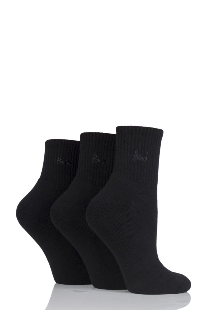 Ladies 3 Pair Pringle Lyndsey Cushioned Sport Socks