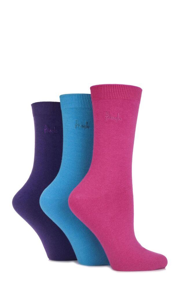 Ladies 3 Pair Pringle Tiffany Plain Trouser Socks