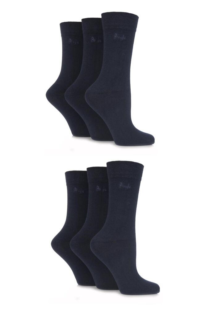 Ladies 6 Pair Pringle Jean Plain Comfort Cuff Cotton Socks
