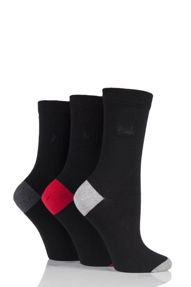 Ladies 3 Pair Pringle Terri-Ann Contrast Heel and Toe Socks