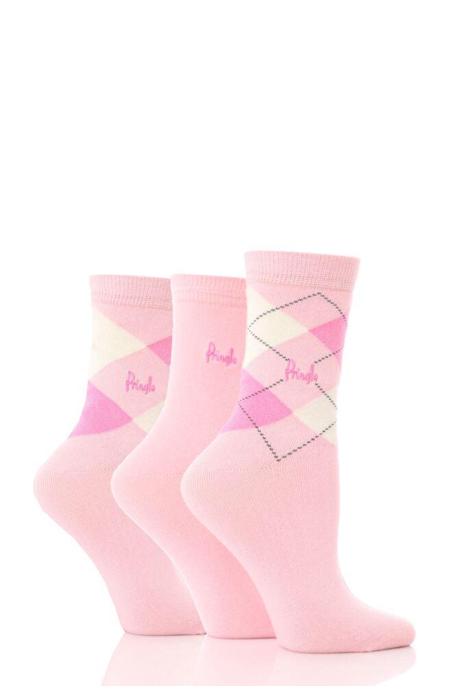 Ladies 3 Pair Pringle Louise Argyle Cotton Socks
